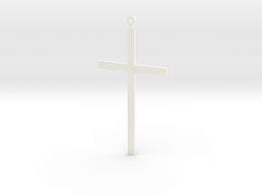 Pendant - Cross in White Strong & Flexible Polished