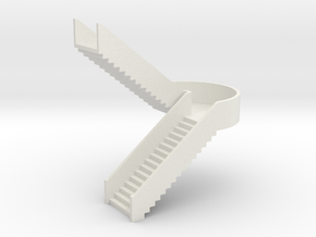 N Station Stairs U H40mm in White Strong & Flexible