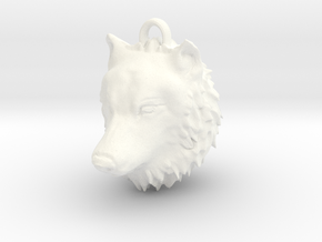 Wolf Head Pendant in White Strong & Flexible Polished