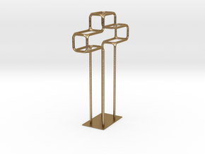 Wire Cross Small Base in Polished Gold Steel