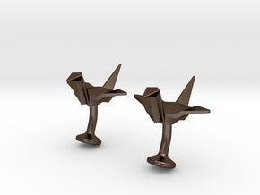 Origami Crane Cufflinks in Polished Bronze Steel