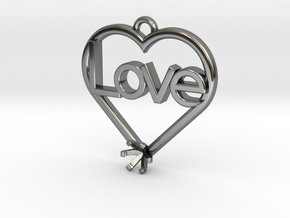 "Heart Pendant ""Love"" (Mount 4.28mm) in Premium Silver"