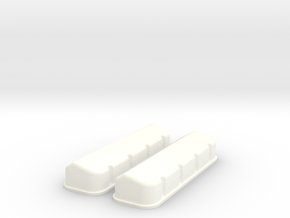 1/8 BBC Plain Valve Covers in White Strong & Flexible Polished