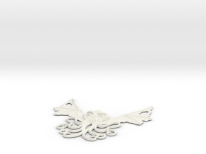 Winged Cthulhu Necklace in White Strong & Flexible