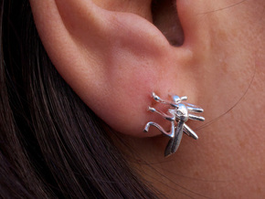 Mosquito Earrings in Raw Silver