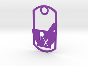 Mortar and pestle dog tag - With Rx symbol (punche in Purple Strong & Flexible Polished