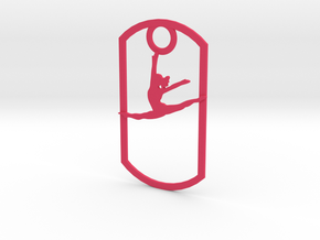 Leaping dancer dog tag in Pink Strong & Flexible Polished