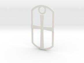 Dog tag - cross in White Strong & Flexible