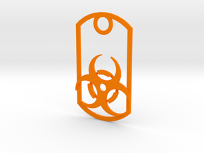 Biohazard dog tag in Orange Strong & Flexible Polished