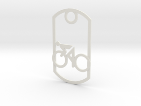 Cyclist - racing - dog tag in White Strong & Flexible