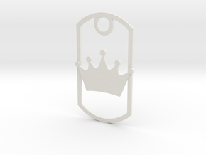 Crown dog tag in White Strong & Flexible