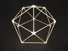 Icosahedron (v1) Dome Joints in White Acrylic