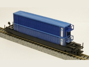 Trash Gondola Double Stack 48foot - Nscale in Frosted Ultra Detail