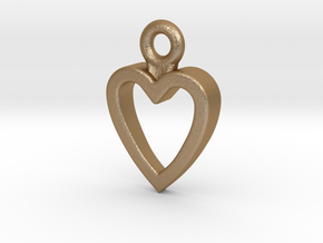 Heart Charm / Pendant / Trinket in Matte Gold Steel