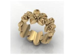 Flower Band Size 8 in Polished Bronze