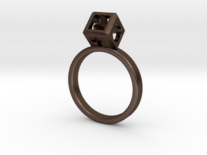 """Ring size 9 (19 mm) with HyperCube """"stone"""" in Polished Bronze Steel"""