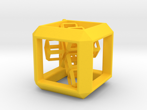 Cube Pendant (30 mm) with 3d-Cross inside in Yellow Strong & Flexible Polished