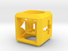 Small HyperCube Base for 33mm 3d-Cross in Yellow Strong & Flexible Polished