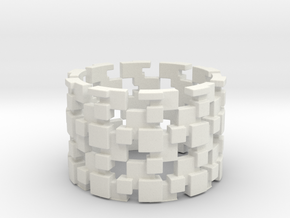 Borg Cube Ring Size 11 in White Strong & Flexible