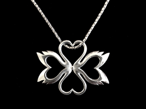 Swan-Heart Pendant in Polished Silver