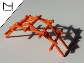 Leonardo Da Vinci's self supporting bridge (Small) in Orange Strong & Flexible Polished