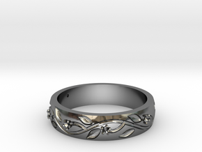 AB053 Floral Band in Premium Silver