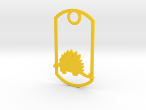 Stegosaurus dog tag in Yellow Strong & Flexible Polished