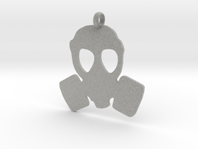 Gas Mask necklace charm in Metallic Plastic