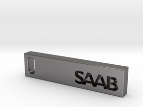 Saab Billet Keychain in Polished Nickel Steel