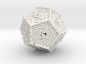 12 Sided Maze Die V2 in White Strong & Flexible