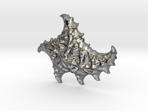 3D Fractal Sea Shell Pendant in Polished Silver