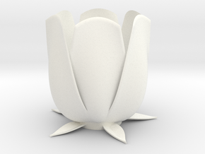 Tulip candle holder in White Strong & Flexible Polished