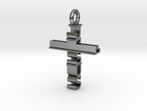 Jesus Cross Pendant in Polished Silver