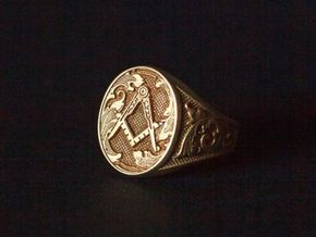 Masonic Signet Ring in Polished Brass