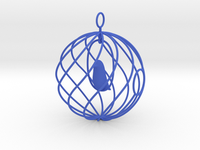 merry bird - christmas ornament in Blue Strong & Flexible Polished