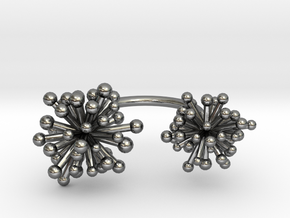 Double Starburst Ring in Polished Silver
