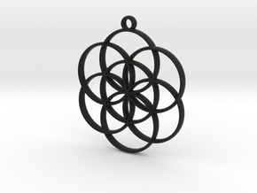 Seed of Life Pendant in Black Strong & Flexible