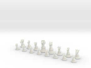 Chess Set (one player side) - Animal Kingdom in White Strong & Flexible