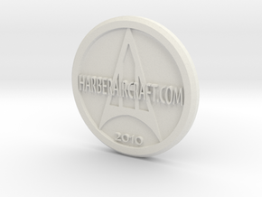 Harber Aircraft logo coin in White Strong & Flexible