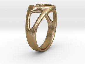 Caterina Heart ring in Polished Gold Steel