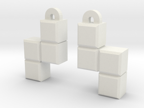 Video Game block earrings in White Strong & Flexible