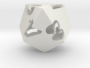 kite d8 (hollow) in White Strong & Flexible