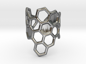 Honeycomb Ring in Polished Silver