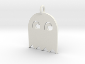 PacMan Ghost Pendant in White Strong & Flexible