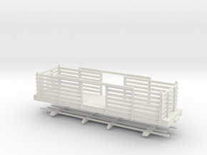 HOn30 28ft Flatcar with pulpwood rack  in White Strong & Flexible