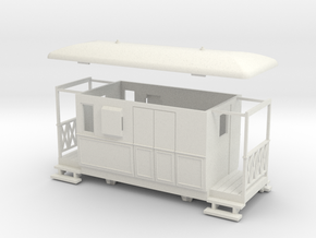 OO9 4w Tramway brake coach in White Strong & Flexible