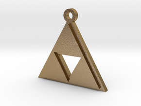 Zelda Triforce Pendant in Polished Gold Steel