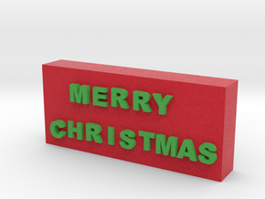Merry Christmas Sign in Full Color Sandstone