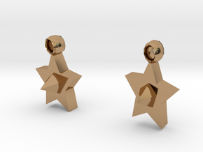 Star earrings in Polished Brass