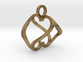 """Heart to Heart"" Pendant in Polished Gold Steel"